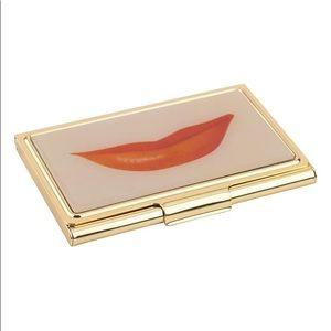 Kate Spade Gold Lips Business Card Holder